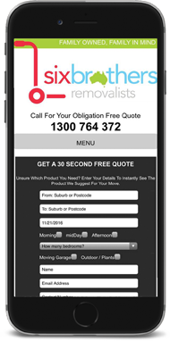 Six Brothers Removalist Mobile Website